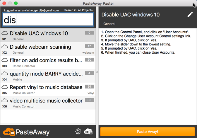 PasteAway client for Mac - Search